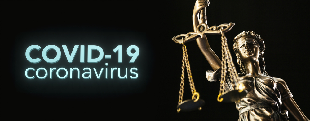 A teaser image with Lady Justice and an inscription COVID-19 Coronavirus